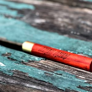 Bad Ash chillum, brass and wood, Padauk Wood